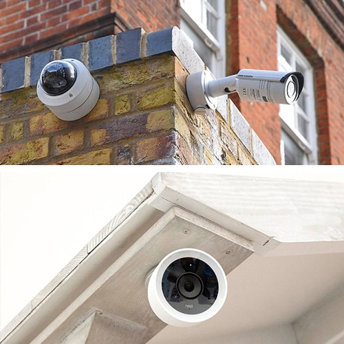 image of CCTV cameras outside a commercial building (top) and an IP camera installed outside a residence (bottom)
