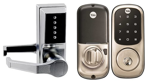 image of one analog and a digital keypad locks