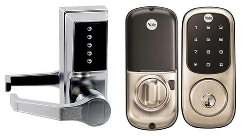 image of one analog and a digital keypad locks