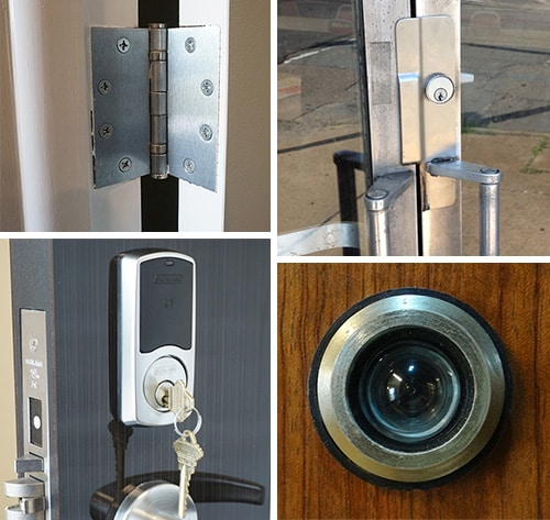 image of door hardware-hinges, wrap-plate, peephole, and smart lock.