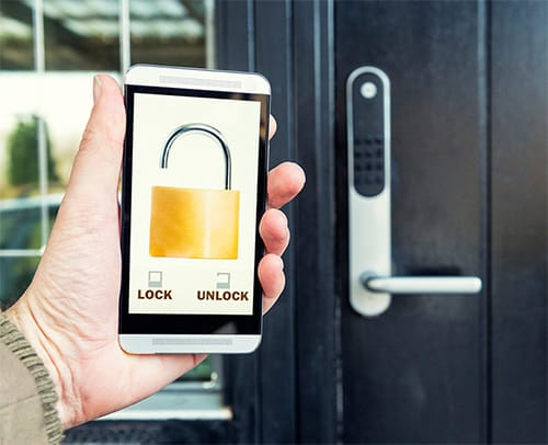 image of a smartphone-controlled smart lock