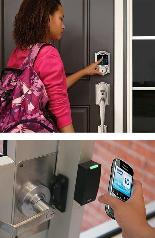 image of a home smart lock on a front door (top) and a commercial mobile device controlled smart lock (bottom)