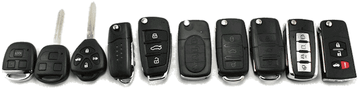 image of a variety of automotive remotes and transponder head keys