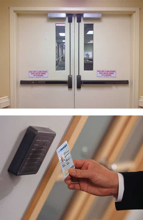 image of a commercial door with panic bars (top), and a key card access control system (bottom)