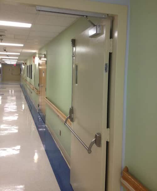 image of a fire door in a hospital