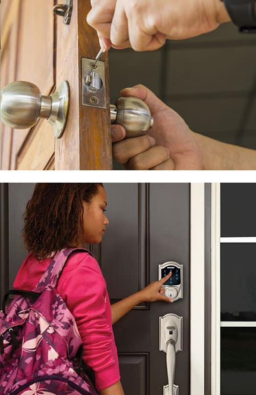 image of a residential lock being installed (top) and a residential smart lock in use (bottom)